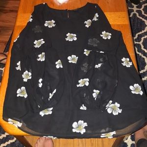 ANN TAYLOR black floral top
